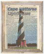 Cape Hatteras Lighthouse NC Altered Art Print Upcycled Vintage Dictionary Page