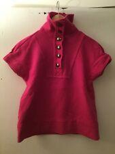 Marc By Marc Jacobs Pink Wool Button Mock Turtleneck Short Sleeve Sweater, Sz M