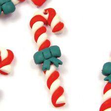 Lot of 6 Red and White With Green Bow Polymer Clay Candy Cane Drop Bead Charms