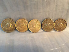 Lot of 5 Alcoholics Anonymous AA Bronze 1 3 6 9 Month 1 Year Medallions Chips