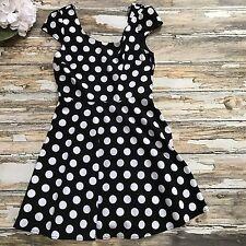 Forever 21 Dress Polka Dot Womens M Skater Black White VLV Retro Rockabilly Fit