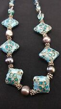 "Cloisonne Bead Necklace with Faceted Quartz Crystal, Pearls, Glass Beads 18"" J8"