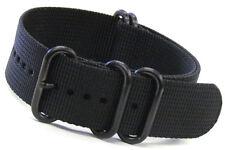 Panatime Ballistic Nylon Nato® Watch Strap w 5 PVD (Black) Rings