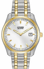 CITIZEN $275 MENS ECO-DRIVE TWO-TONE SS DRESS WATCH, WHITE DIAL, DATE AU1044-58A