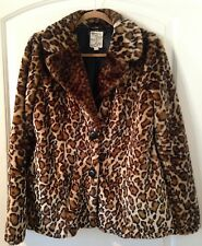 Tulle Trademark Fab Leopard Faux Fur Jacket Size Large Lined, Pockets, Collar