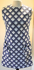 Deadstock Vintage 1960s Lawson Knits Blue White Graphic Print Mod Shift Dress 16