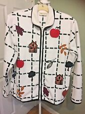 Women's White Poly Fleece Fall Autumn Leaves Zip Front Collar Jacket ~ Sz.P/L