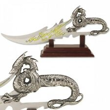 Knife Dragon Cast Metal Handle Etched Yellow Flame on Blade W/  Display Stand