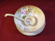 Hand Painted Nippon Footed Mayonnaise Bowl with Ladle and Saucer Gold Color Trim