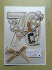 Luxury Hand-Made 70th Birthday Card-Can Be Personalised-Any Relative/Friend