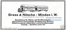 Spedition Grass & Nitsche Minden Reklame von 1928 Möbelspedition Transport LKW