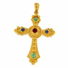 Cross Charm with Cabachon Emerald, Ruby & Sapphire Stones 14kt Yellow Gold