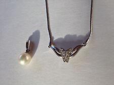 Necklace- Detachable Pearl Diamonds Platinum Pt 850 High-end Wedding 4Ever Piece