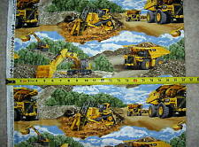 Cat Building Scenic Allover Bulldozer Excavator Dump Truck 10103 pc fabric