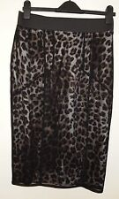 G21 BLACK LEOPARD MESH PANELLED PENCIL ANIMAL BODYCON TUBE PARTY SEXY SKIRT 12 M