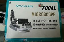 VINTAGE FOCAL STUDENT MICROSCOPE PRECISION MADE 100× TO 600× zoom