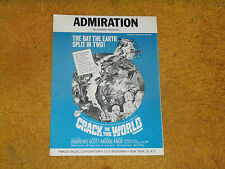 Admiration sheet music from film CRACK IN THE WORLD 1965 3 pages (VG+ shape)
