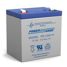 Power-Sonic CP1250 12 Volt 5 AmpH SLA Replacement Battery with F1 Terminal