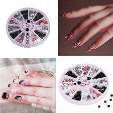 3D Nail Art Tips Gems Acrylic Glitter Crystal Rhinestone DIY Decoration + Wheel