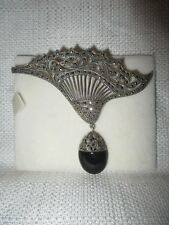 fab vintage STERLING & MARCASITE Fan Pin w/Onyx Drop