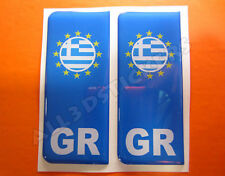 2x3D Sticker Resin Domed Euro GREECE Number Plate with Flag Car Badge Adhesive
