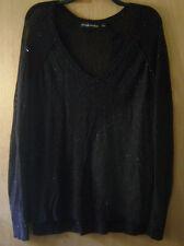Women's Rock & Republic Black Net Metallic Design Sheer Casual Sweater Shirt L