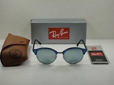 RAY-BAN CLUBROUND SUNGLASSES RB4246 984/30 BLUE/SILVER MIRROR LENS 51MM NEW!