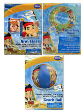 "Disney Jake Pirates Kids 20"" Swim Ring Tube + Arm Floats + 20"" Beach Pool Ball"