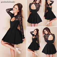 Sexy Womens Long Sleeve Lace Backless Evening Party Bodycon Mini Skater Dress /