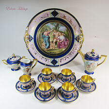 18 Piece Antique Royal Vienna / HCS Czechoslovakia Coffee Set - Platter 15.5""