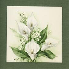 VINTAGE CALLA LILIES FLOWERS LITHOGRAPH PRINT ON ANTIQUE PAPER PICTURE COLLAGE
