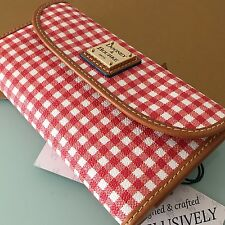 Dooney & Bourke Red Coated Canvas Gingham Continental Clutch Wallet WGNGS0507