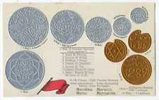 Morocco Coins on German Ad Postcard ca 1912 RARE Mint Condition