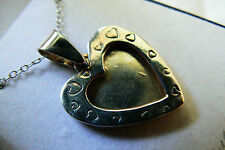 VTG Sterling silver 925 picture photo frame heart pendant necklace w box