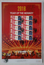 2016 YEAR OF THE MONKEY 8-2-16 FIREWORKS STAMPS.NO 62/75 LTD.CHINATOWN W1 LONDON