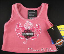 BUILD-A-BEAR HARLEY-DAVIDSON ROSE & WINGS PINK TANK TOP TEDDY CLOTHES SHIRT NEW