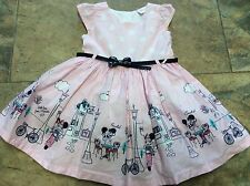 girls disney dress  age 12/18 months pink white. belted ,  pretty pattern minnie