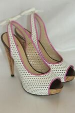 RYAN HABER COLLECTION White Patent FLIRT Bow Platform Heels US 6.5 EU37 $350