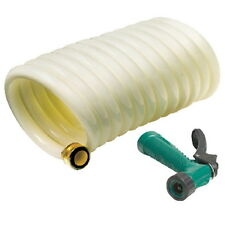 25 Ft White Coiled Wash Down Hose with Green Sprayer for Boats