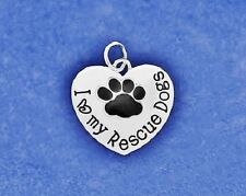 Rescue Dogs Charm Pendant Sterling Silver Pl Paw Print I Love My Heart Mom Dog