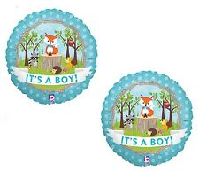 """Fox Woodland Animals It's a BOY Welcome Baby Shower (2) 18"""" Party Mylar Balloons"""