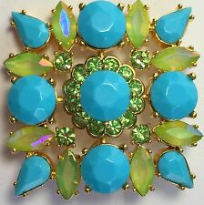 Joan Rivers Blue Turquoise Peridot Crytal Opalescent Green Brooch Pin Goldtone
