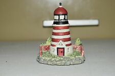 "Resin Lighthouse Red & White Striped Painted Display Decoration 3"" Tall LH-120"