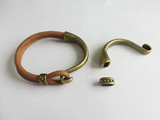 3Sets Antique Brass Half Cuff Hook Clasp Bracelet Findings For 5mm Round Leather