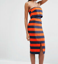 Lavish Alice Stripe Print Bandeau Cropped Midi Dress UK 12/EU 40/US 8