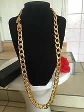 "Premium 15mm 30"" 18K Gold Plated Traditional Curb Chain Necklace Men's Gift Box"