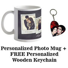 Personalized Mug Customized Mug With Free Wooden Heart Photo Key-Chain