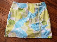 Lilly Pulitzer Green Blue Fish Print Skort with Bow Size 0 XS Extra Small EUC