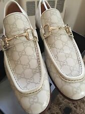 NEW Men's Vintage Gucci White Leather GUCCISIMA GG Pattern Loafers Size 11.5-12