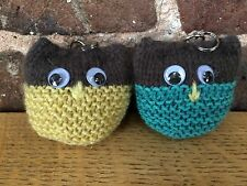 Pair of Hand Knitted Owl Key Rings: One Teal/One Yellow Ochre by KnittedNature